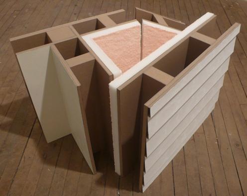 Leah Bailis   Tactile Defense,  2012 Cardboard, paint, foam, rubber, towel $1000