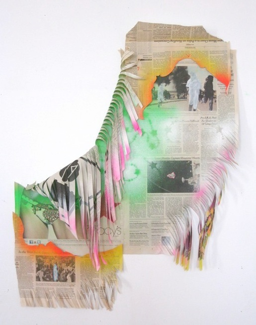 Elissa Levy   Space Shuttle Captures Hearts,  2011 newspaper and mixed media 30 x 23 inches $3500