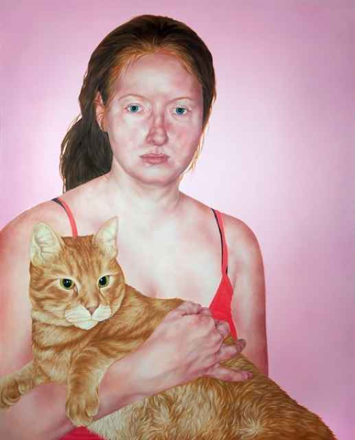 Kelli Thompson    Anne and Cat ,     2012 Oil on Wood Panel  60 x 48 in   $3,200