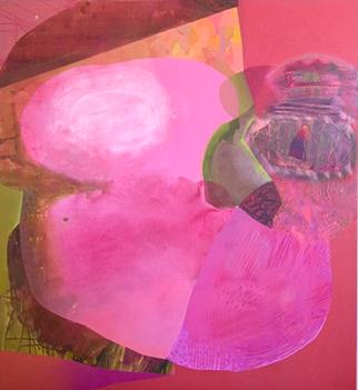 Heather Leigh McPherson     Unambiguous Mask,    2013   Ink, Acrylic, Spray Paint on Canvas    $5,000