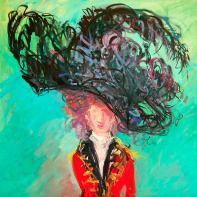 """Deborah Brown. Black Hat. Oil on Canvas. 36x36"""". 2014."""