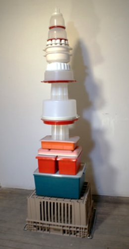 Wade Schaming Cake Cake Cake Tower ,2013,Tupperware, found plastic and metal,80 x 20 x 26 inches