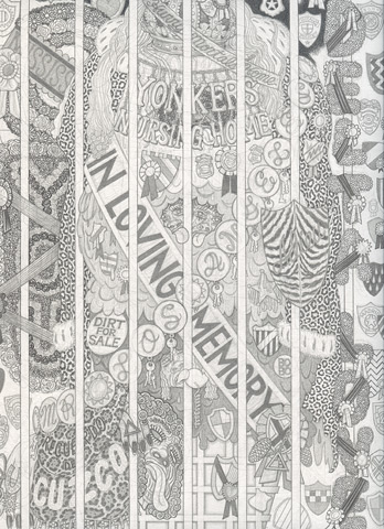 Alex O'Neal, Shrine for Ice Cream Royalty (In Loving Memory) ,2013,Graphite on paper,12 x 9 inches