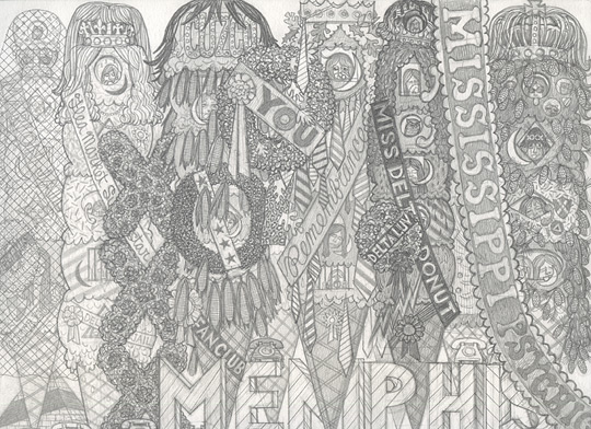 Alex O'Neal, Shrine for Ice Cream Royalty #3 ,2013,Graphite on paper,9 x 12 inches