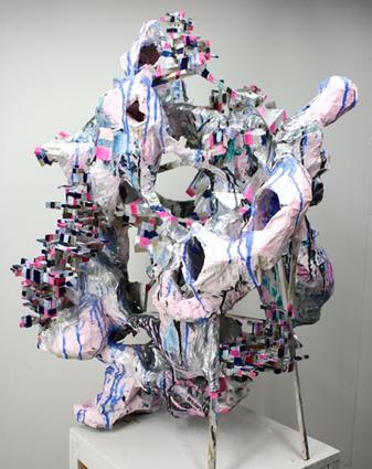 Ben Pranger, Thing of Holes, 2014,Papiermâché,  wood, paint,35 x 24 x 26 inches