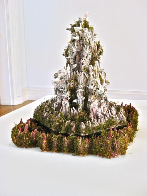 Heidi Lau, The Fortres ,2012,Glazed ceramics, moss,27 x 18 x 16 inches