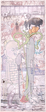 """M.A. PapanekMiller, Preparing for Winter: """"I will work harder. I"""" ,2013,Acrylic, collage, graphite, fabric, wood.24 x 11 inches"""