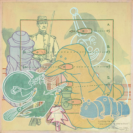 """M.A. PapanekMiller, Looking for Alice: """"you won't know who to trust,"""" 2.5, 2007,Acrylics, collage, graphite on wood,12 x 12 inches"""