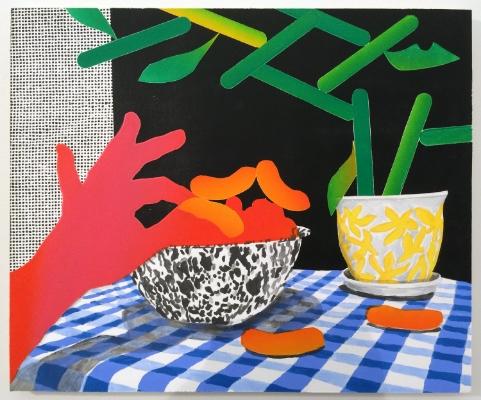 Karen Lederer  Cheeto Zen,  2014 Oil and acrylic on panel 24 x 20 inches $1,400
