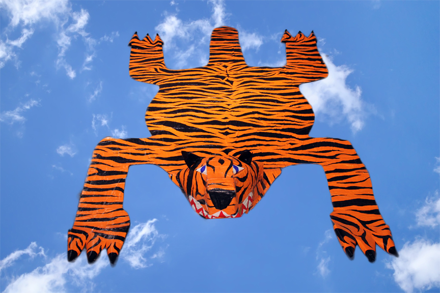 Zebadiah Keneally    Flying Tiger Magic Carpet , 2014  Paper maché 120 x 60 x 12