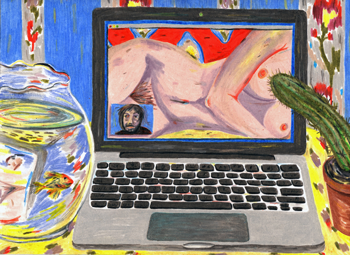 "Jennifer May Reiland,  Odalisque with Cactus and Fishbowl,  Colored pencil on paper, 9"" x 12"""