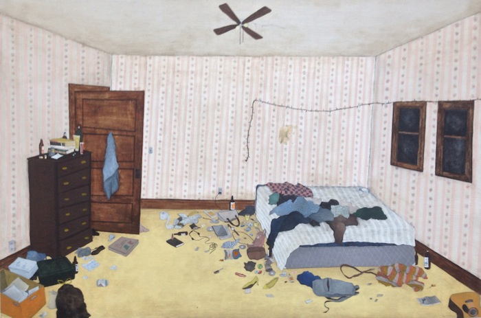 Sarah Schneider, Bedroom, Acrylic on Panel, 20 x 30 inches