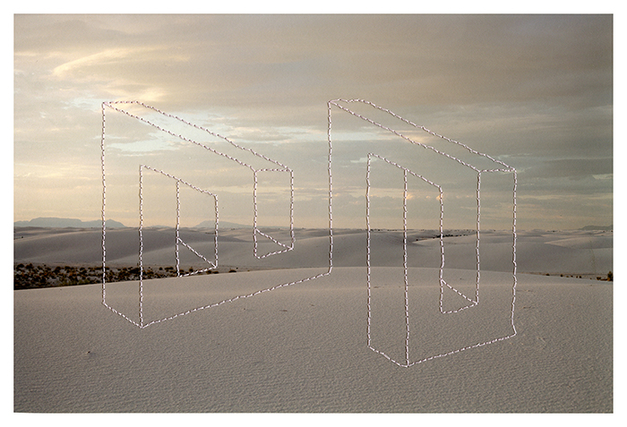 Millee Tibbs, Impossible Geometries (White Sands), Archival Digital Print and Thread, 11 x 7""