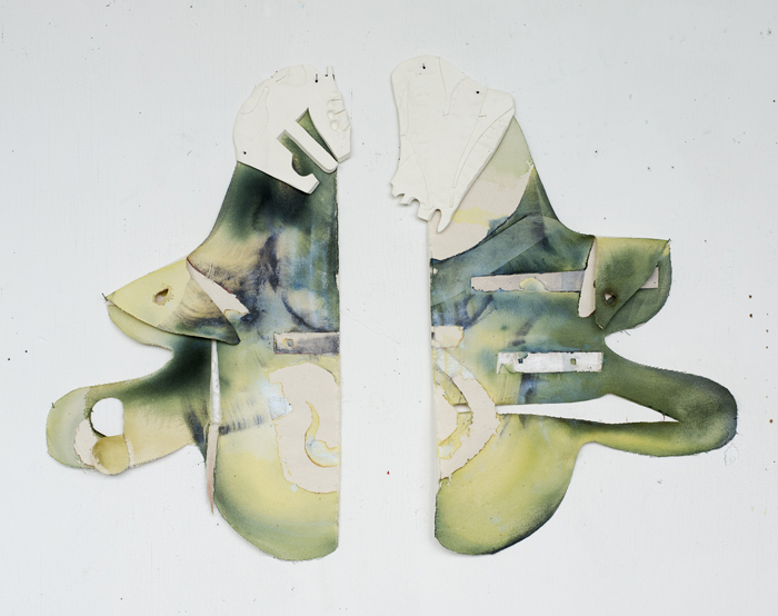 "Sophie Grant, F Power, Acrylic, mica powder, and hand-built ceramics on canvas, 35"" x 29"""