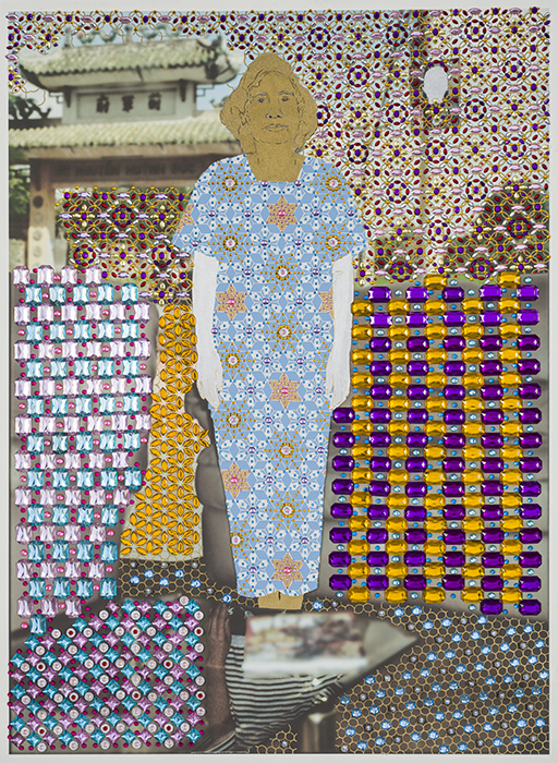 "Khanh Le, In Her Corner of the Universe, Mixed Media: Gold and silver paint, acrylic jewels, metallic sequins, and archival pigment print on paper, 32"" x 23"" x .375"""