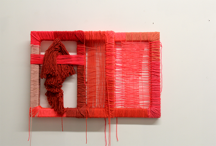 Fiorella Gonzales Vigil, Red Squares, Yarn and wood, 28 x 18 in