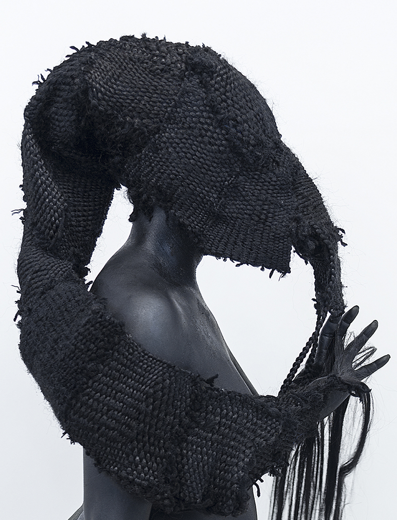 Stephanie Woods, Weave Idolatry Detail, 2014, Synthetic Hair Weave and Black Body Paint, 29 x 26 inches