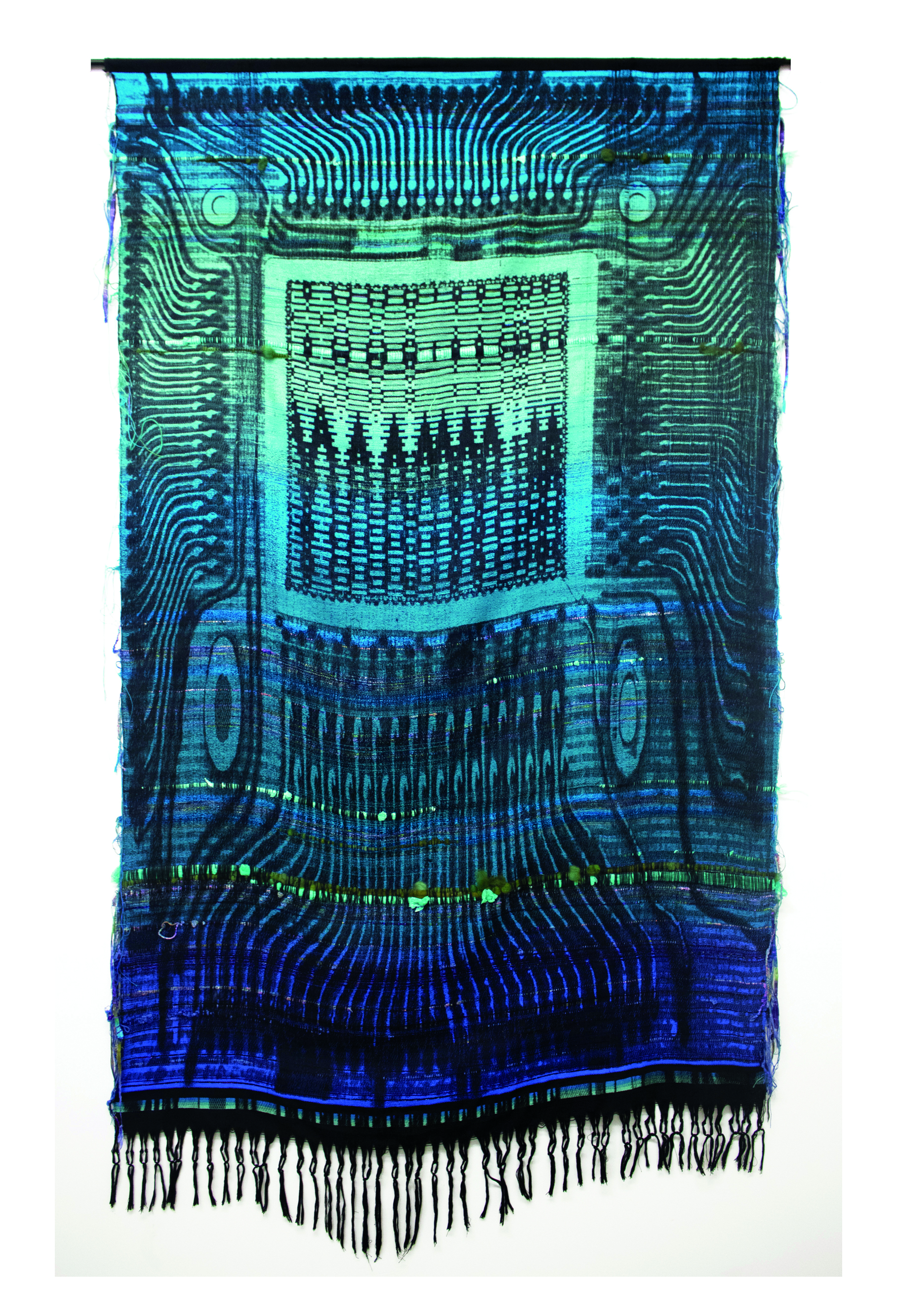 Robin Kang,  Phantasmatic Data Dawn , 2015, Hand jacquard woven cotton, wool, synthetic fiber, plastic, metal rod, 56 x 98 in