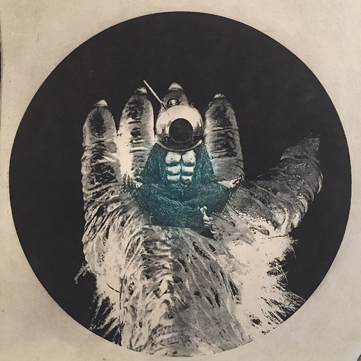 "Karl Erickson,  We Could Be Transcendent Apes,  solarplate print, 7x7"", 2016"