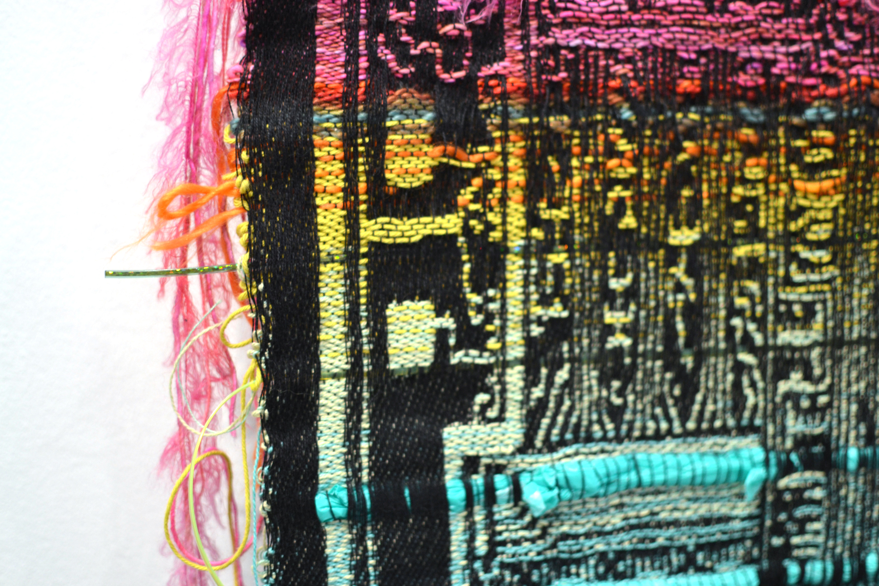 "Field Projects at Volta, detail of Robin Kang, ""Integrated Circuit System"", 2016, Hand Jaquard woven wool, alpaca, and synthetic fibers, 19 x 35"""
