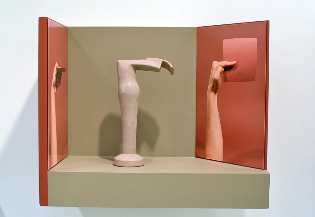 Ellie Krakow, Arm Armature #3, 2016 Glazed ceramic, photographs on aluminum, and wood