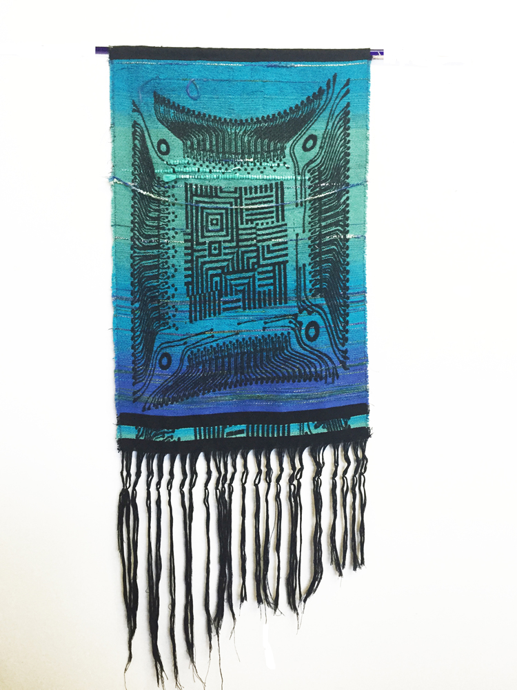 "Robin Kang, Optic Core with One Eye, Hand Jacquard woven cotton, hand dyed wool, and synthetic fibers, 18.5 x 49"", 2015"
