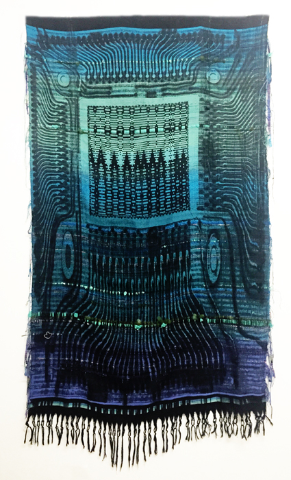 Robin Kang, Phantasmatic Data Dawn, 2015, Hand jacquard woven cotton, wool, synthetic fiber, plastic, 56 x 98 inches