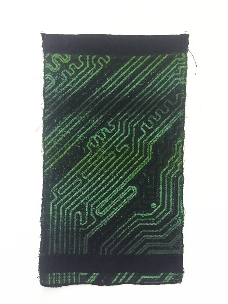 "Robin Kang, Geo Motherboard,  Hand Jacquard woven cotton  15 x 24"" Custom white shadow box frame (no glass) 19.5 x 29.5 x 2"", 2014"