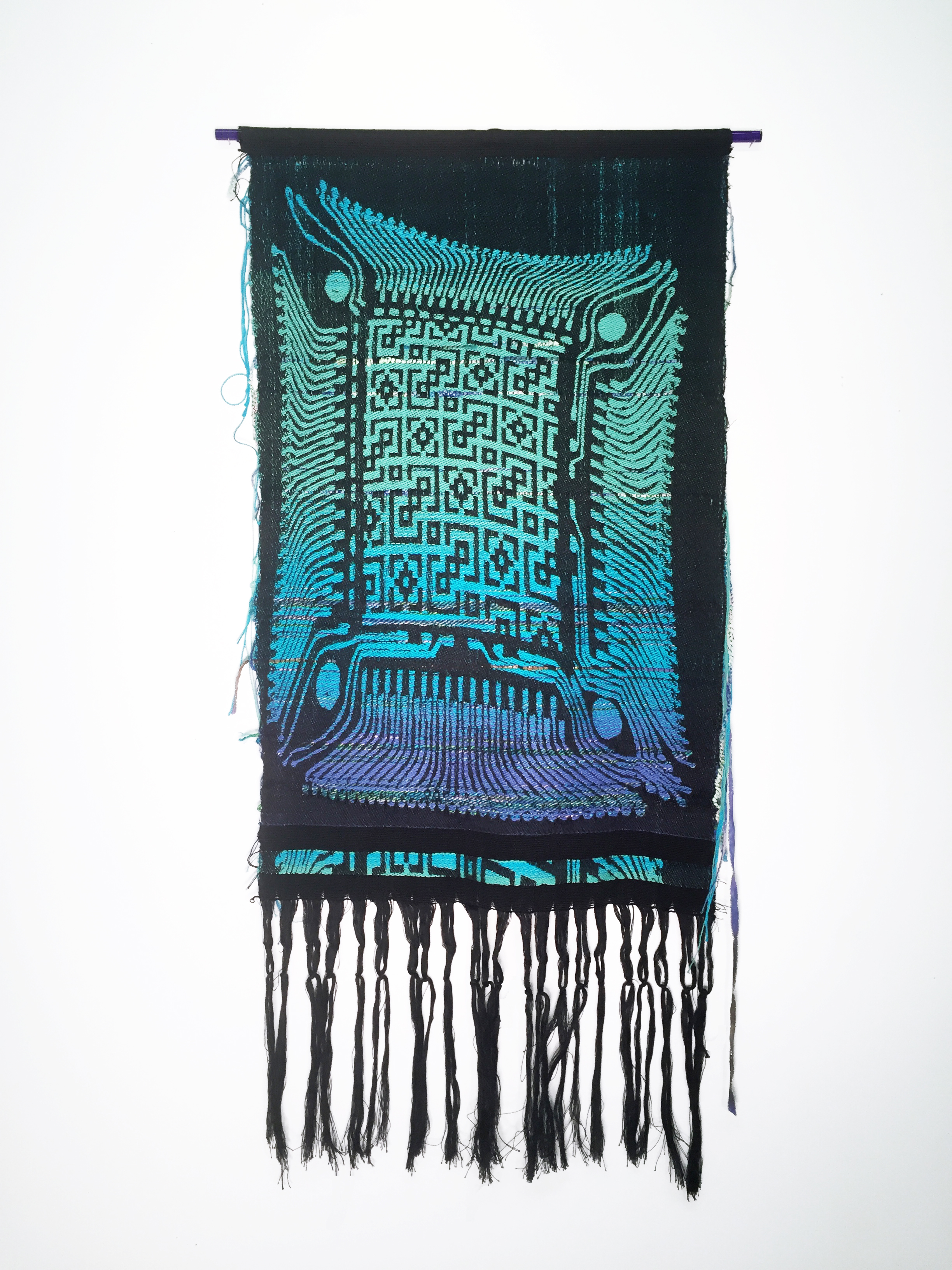 "Robin Kang, Optic Core 698, Hand Jacquard woven cotton, hand dyed wool, and synthetic fibers, 18 x 38"", 2015"