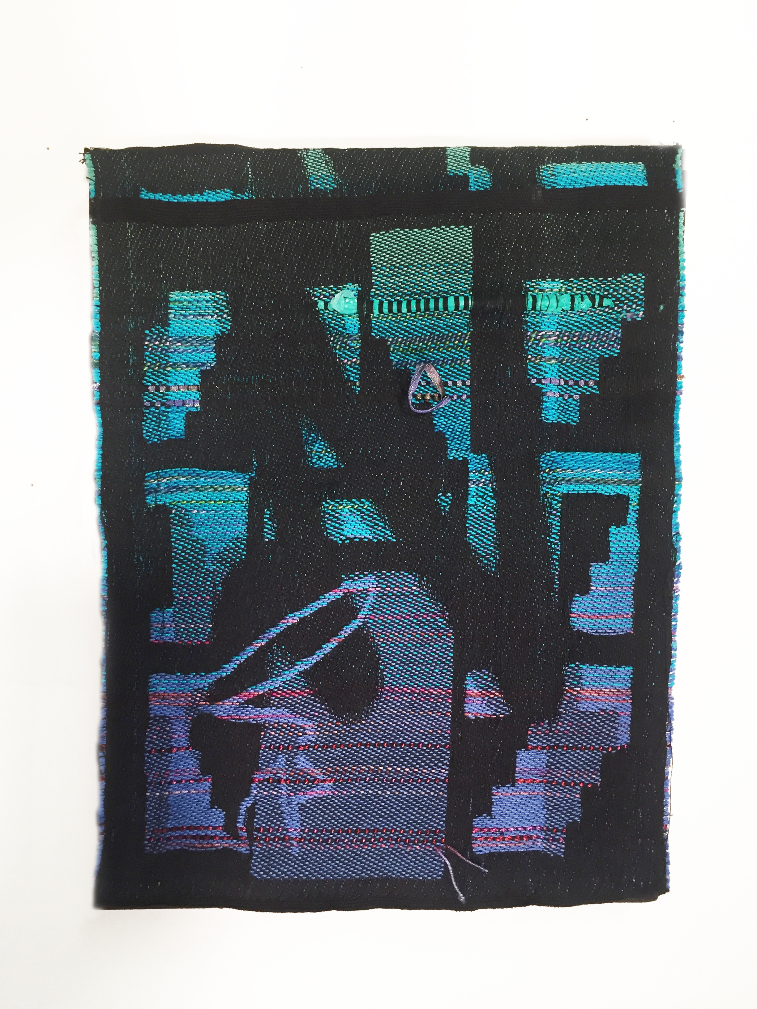"Robin Kang, Pliable Plane, Hand Jacquard woven cotton, hand dyed wool, and synthetic fibers 12 x 16"", 2016"