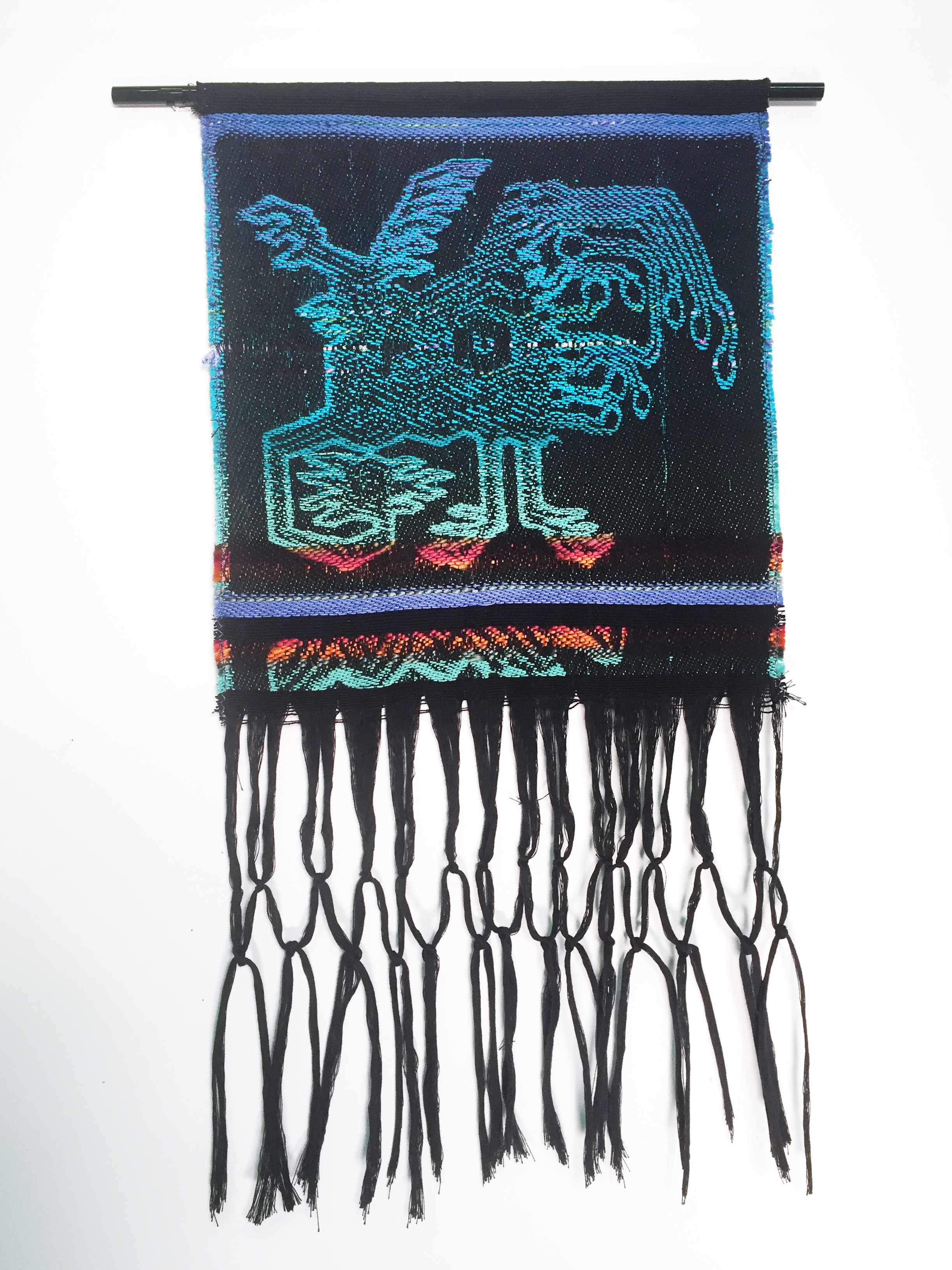 "Robin Kang, Cyber Bird, Hand Jacquard woven cotton, hand dyed wool, and synthetic fibers 12.5 x 23"", 2016"