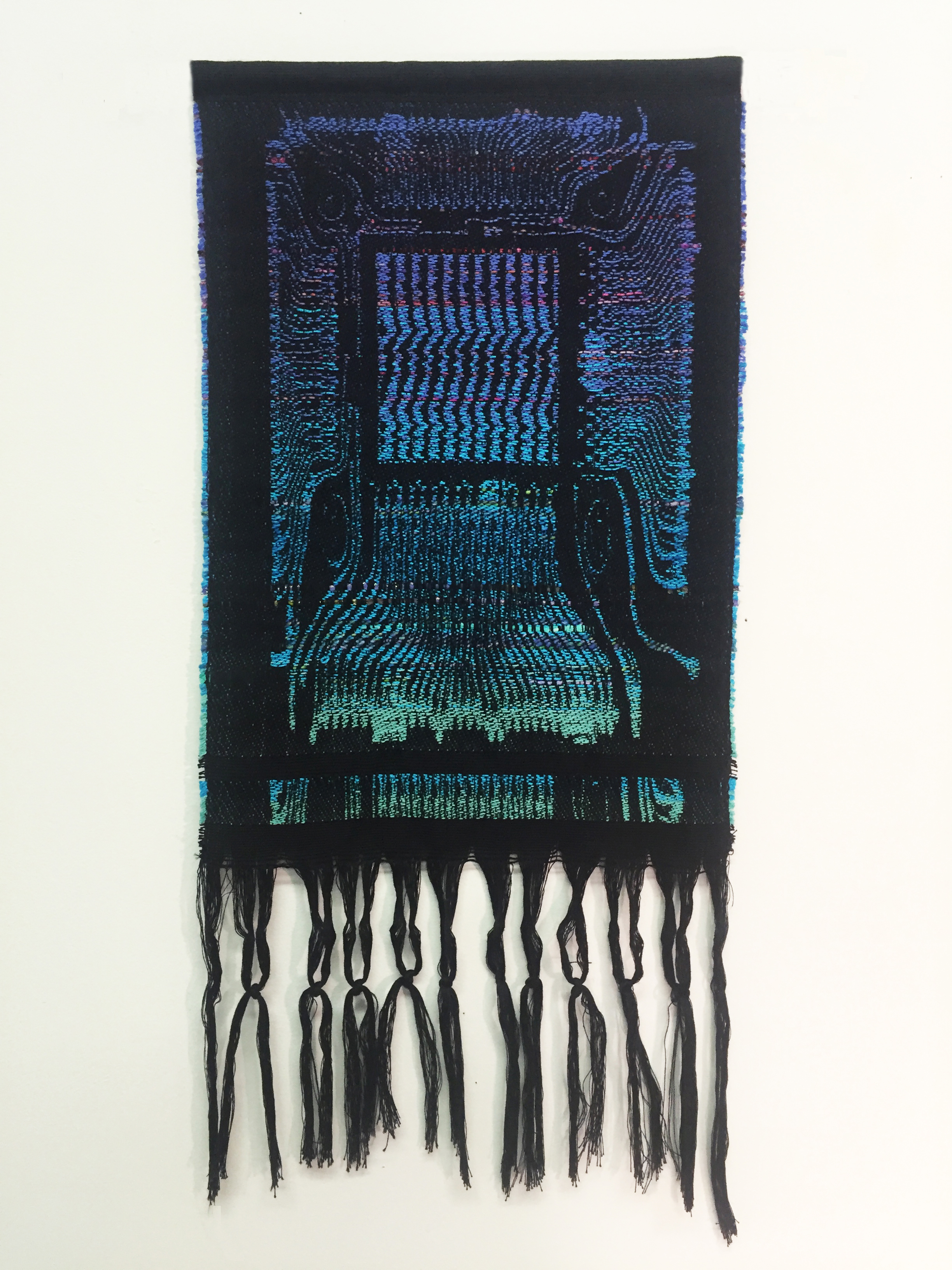 "Robin Kang, Frequency, Hand Jacquard woven cotton, hand dyed wool, and synthetic fibers 12 x 23"" 2016"
