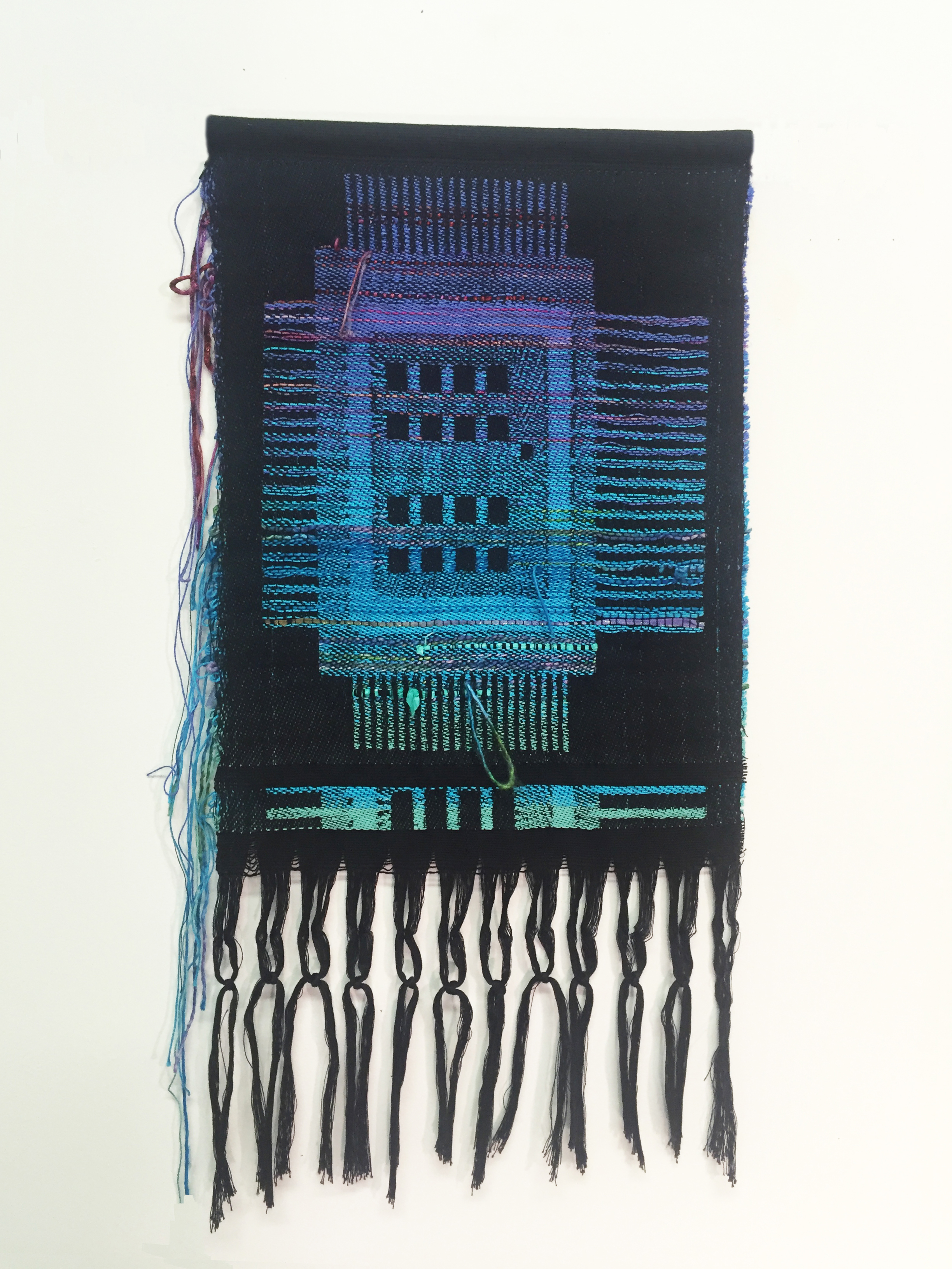 "Robin Kang, Intel Core, Hand Jacquard woven cotton, hand dyed wool, and synthetic fibers 13 x 23"", 2016"