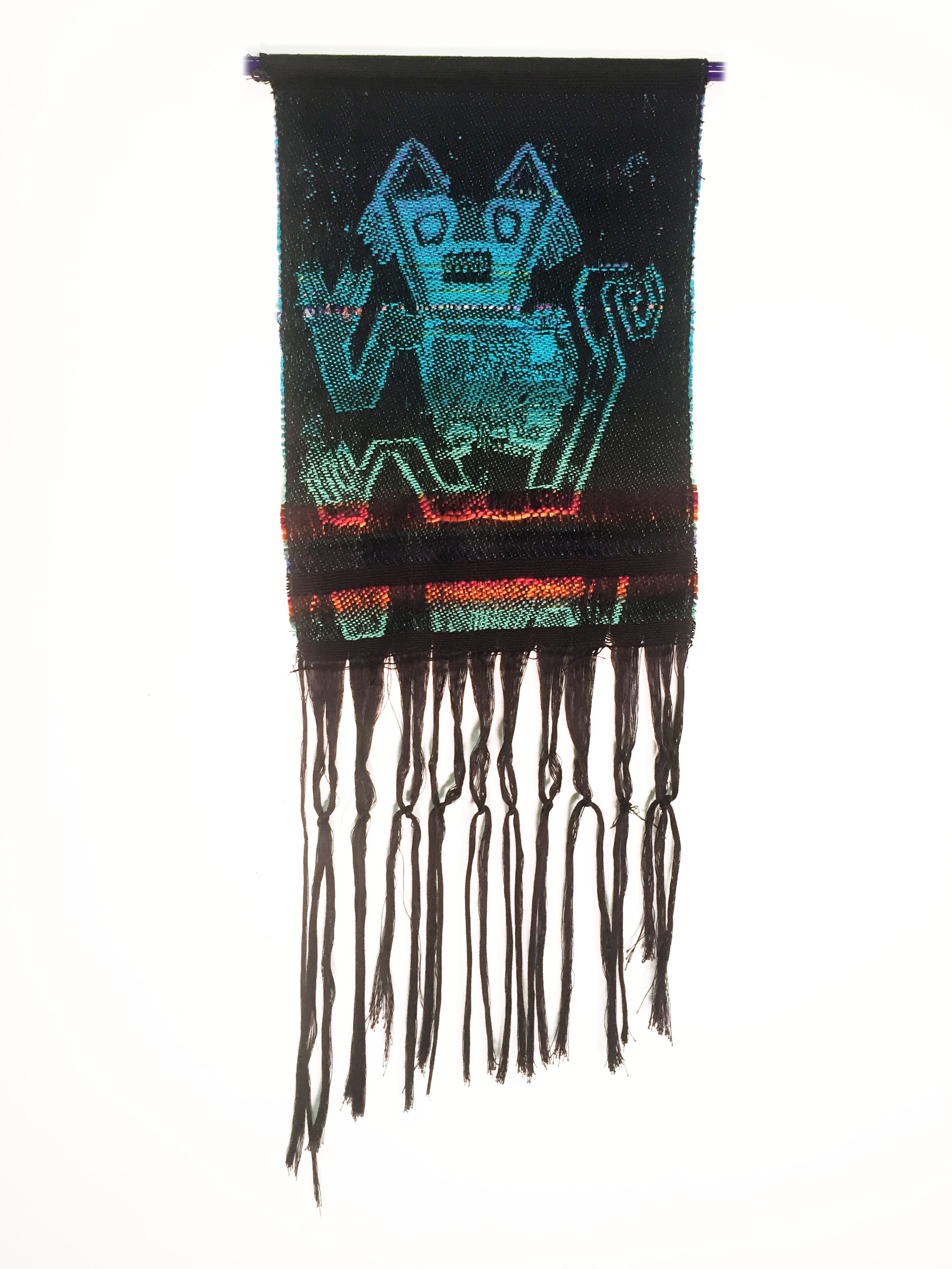 "Robin Kang, Vulcan Salute, Hand Jacquard woven cotton, hand dyed wool, and synthetic fibers 10.5 x 23"", 2016"