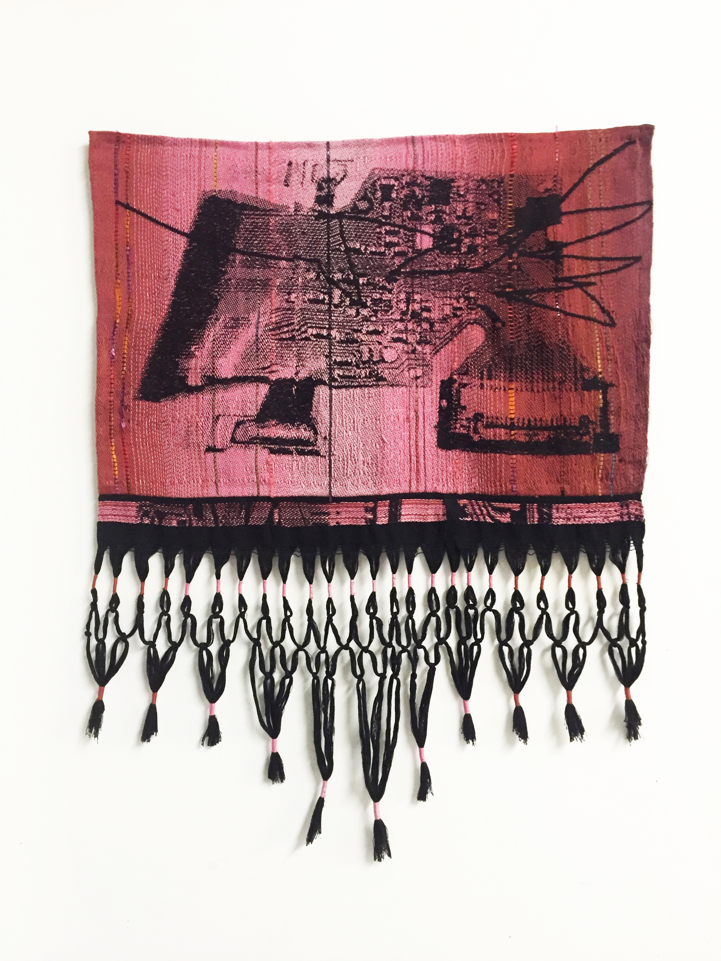 Robin Kang,  Quetzalcoatl SSD with Scratch, 2016, Hand Jacquard woven cotton and synthetic fibers, 24.5 x 32""