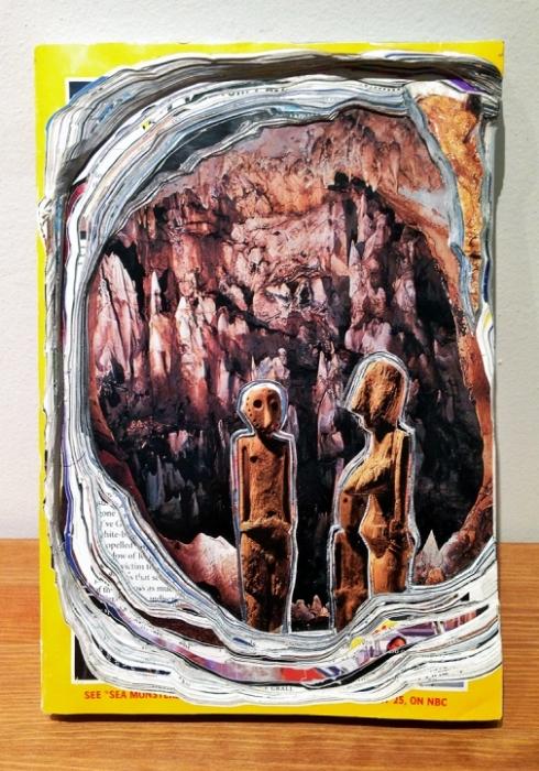 "Julie Ann Nagle, ""Excavation Group"", 2015, Carved National Geographic Magazines, glue"