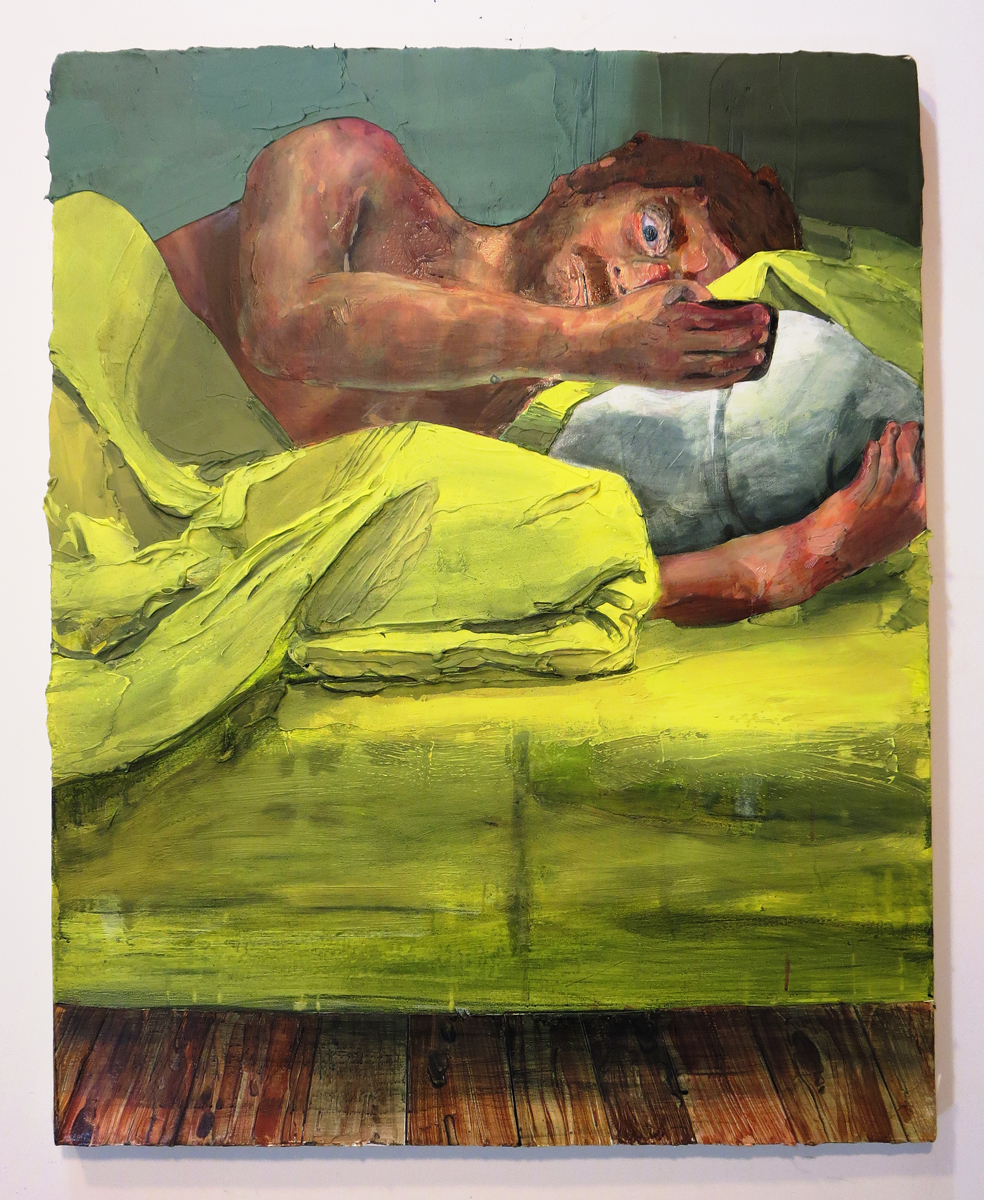 Hilary Doyle, On the Phone in Bed, 2016 Acrylic on canvas 21 x 24""