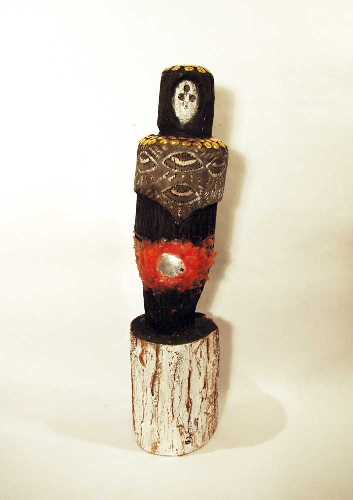 """Brian Sparrow  Eastern Totem Painted wood and found object 17 x 4 x 4"""""""