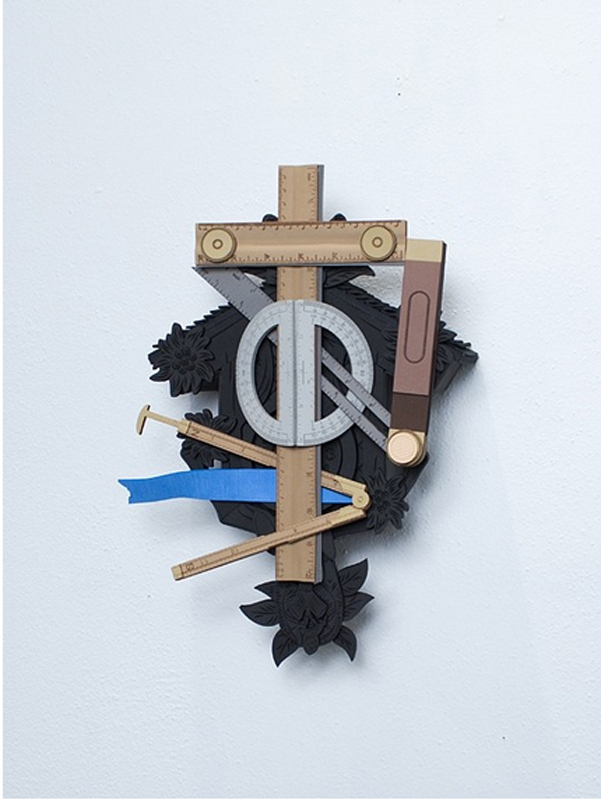 """Nathan Skiles  Golem #4, Cuckoo clock with tools  Foam rubber  15 x 10 x 6"""""""