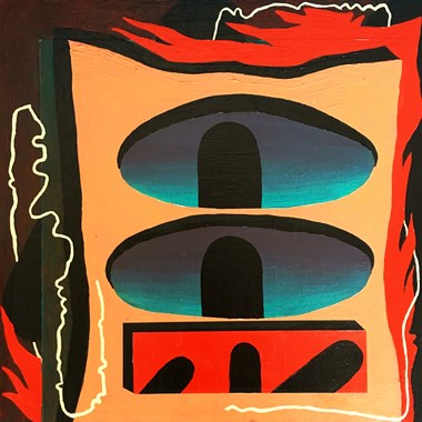 "Angela Heisch    ""Submarine""/ acrylic on wood panel, 10""x10"""