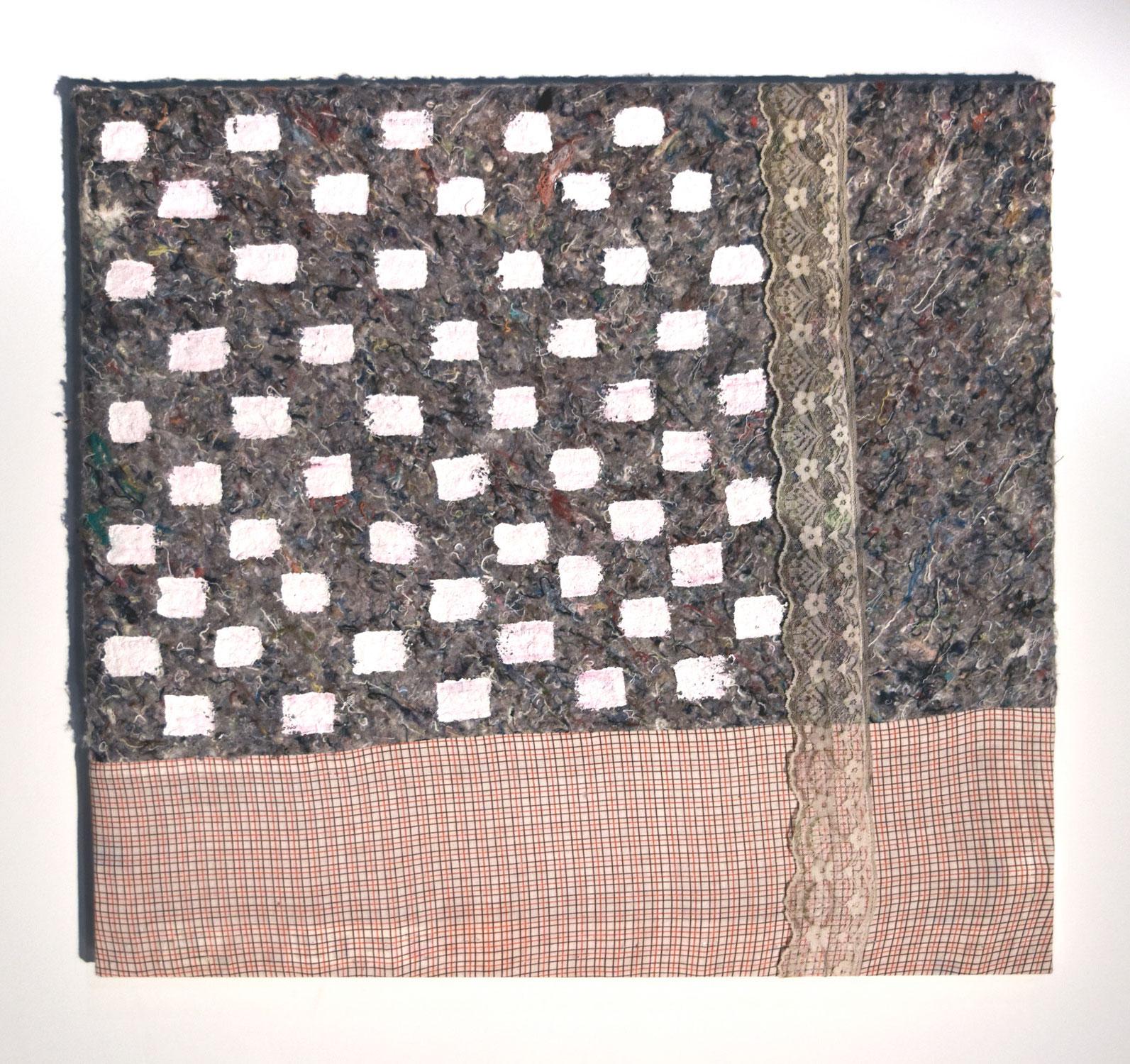 "Dana Robinson   ""Mommy's Tired- 01""/ Carpet padding, clothing fabric, lace, acrylic paint/ 25"" x 23"""
