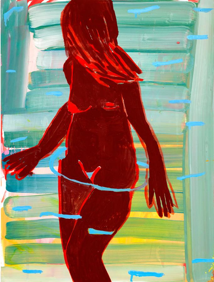 """Kimia Ferdowsi Kline """"Fire Bath"""", 2016, oil on panel, 16"""" x 12"""""""