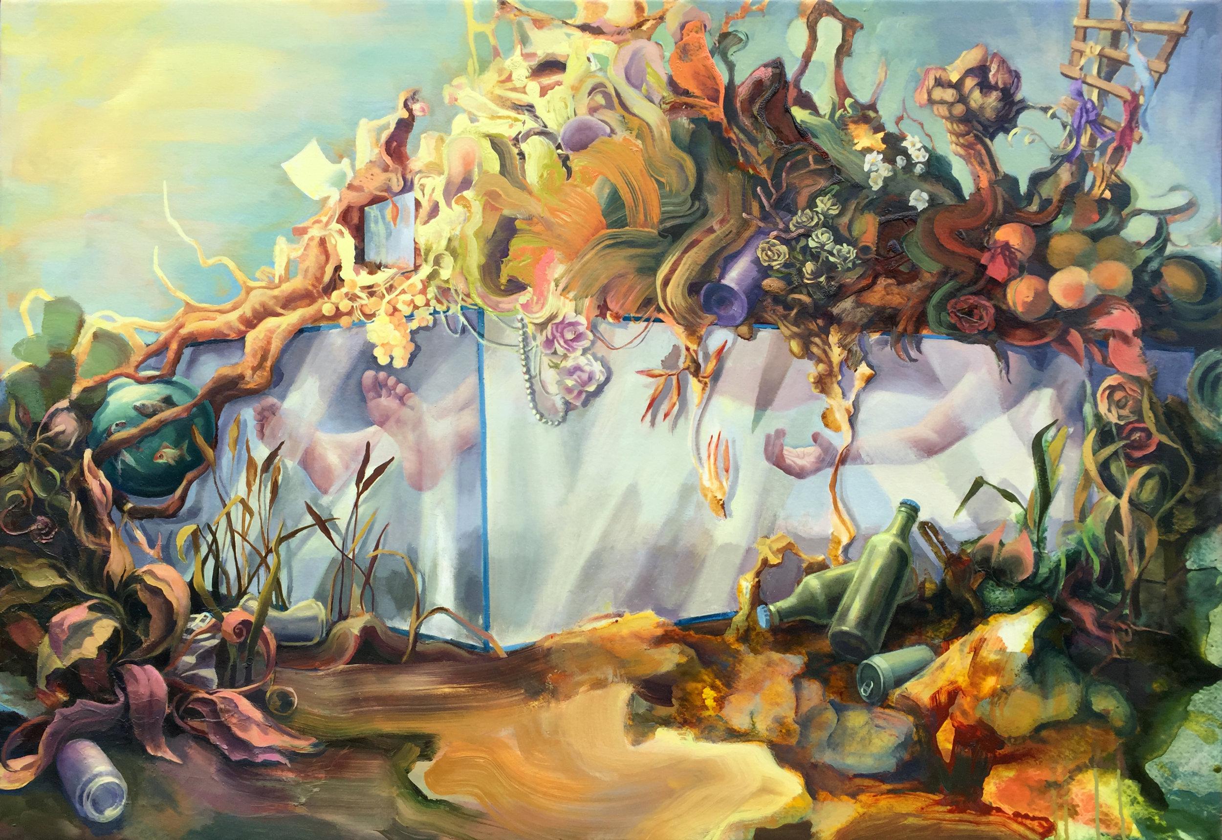 "Virginia Wagner ""Wake"" 2016,ink, acrylic, oil on canvas, 38"" x 55"""