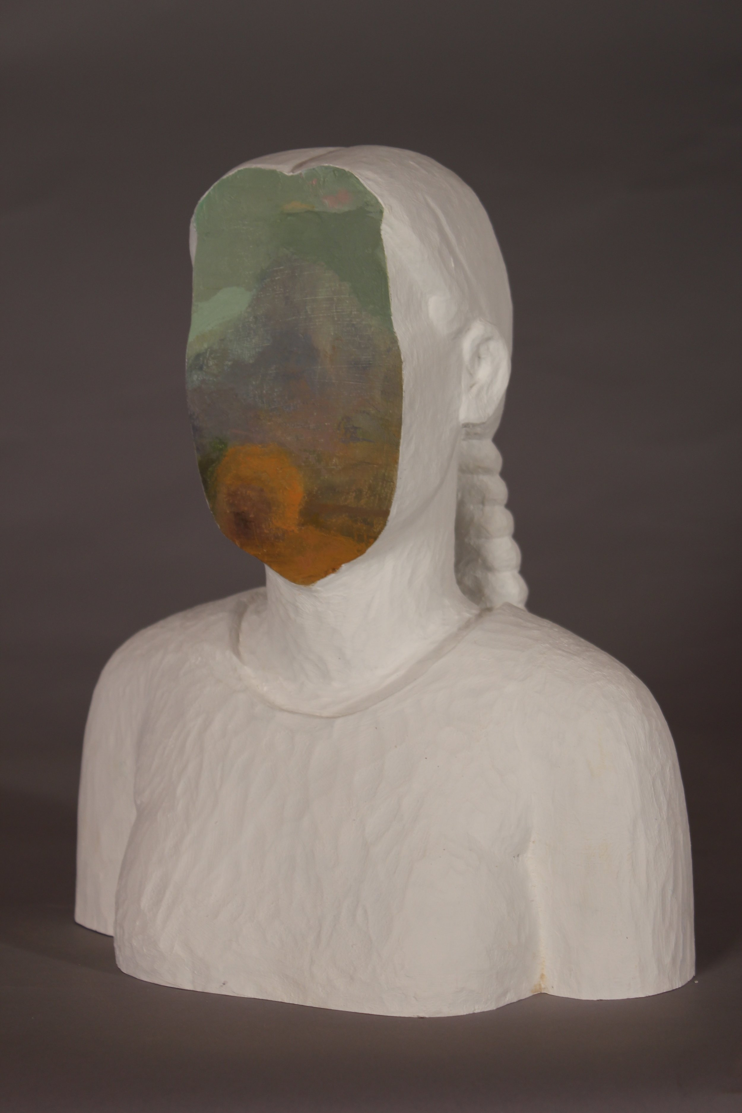 """Sachiko Akiyama (in collaboration with painter Rick Fox) """"Between Here and There"""", wood and paint, 10 1/2"""" x 7"""" x 11 1/2"""""""