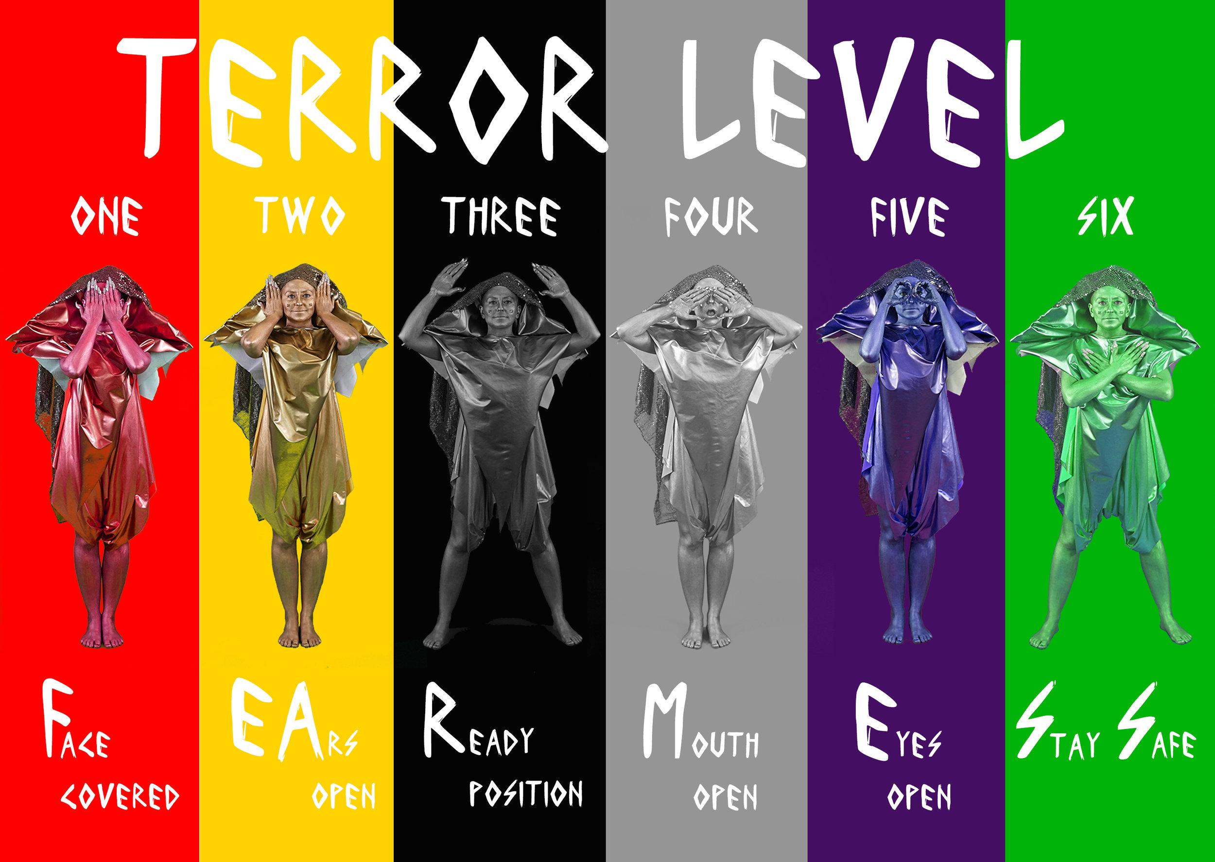 "Amy K  hoshb in ""Terror Level Alerts"", 2016, digital print,24"" x 18"""