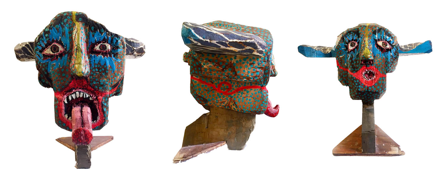 "Haley Hughes ""Shwoo/ Boat Figure Head"" 2011, Balsa wood, acrylic spray, spar varnish, 18 x 21 x 15"""