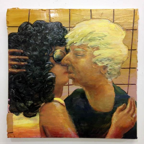 """Hilary Doyle """"Kiss"""" 2017, acrylic on canvas, 18 x 18 """""""