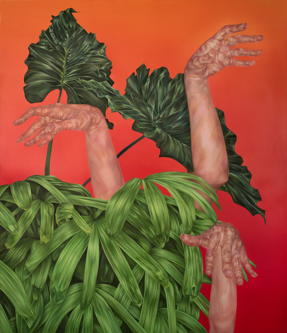 "Kelli Thompson, Hands and Plants 1, 42 x 36"", oil on panel, 2016"
