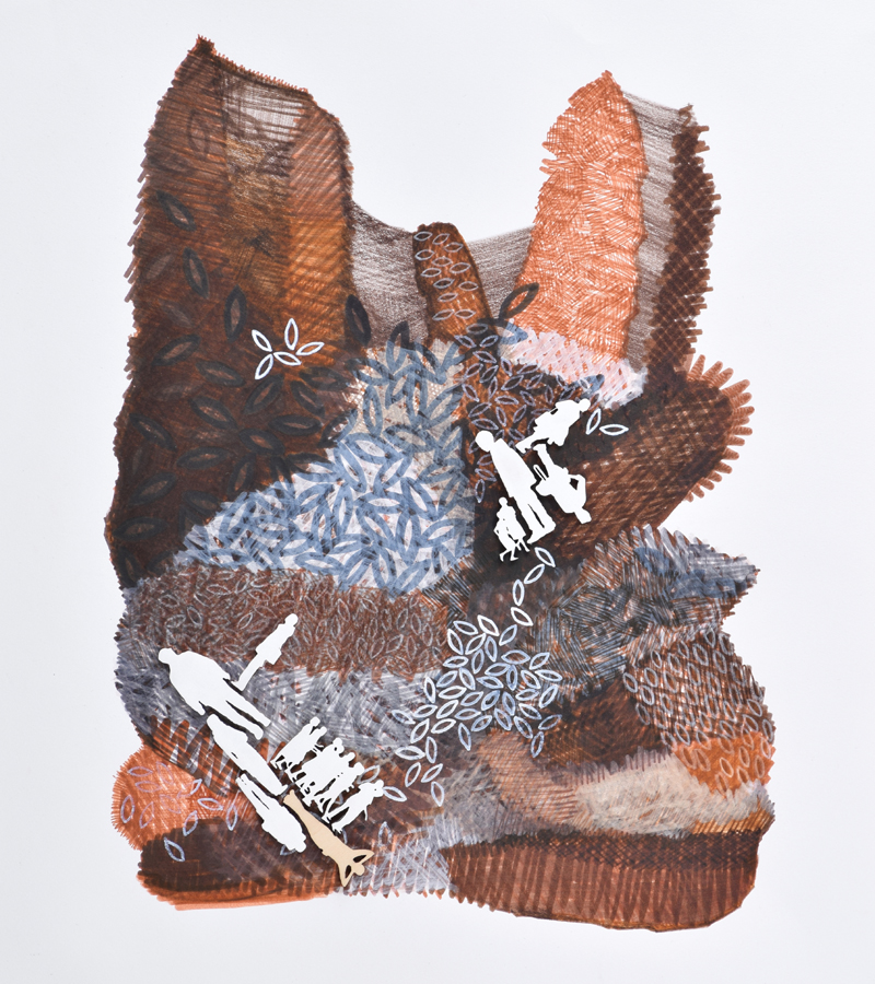"Jennifer Maria Harris , Cultivate #8,  2015, Mixed media on paper, 17 x 14"""