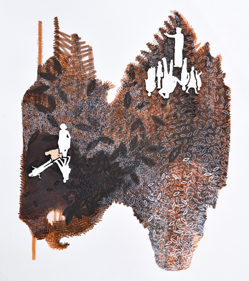 "Jennifer Maria Harris , Cultivate #9,  2015, Mixed media on paper, 17 x 14"""